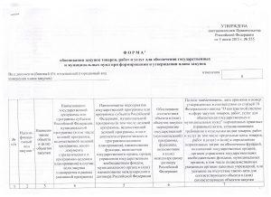 форма обоснования плана закупок 1